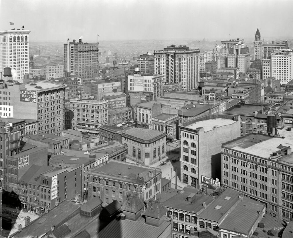 "Circa 1912. ""Baltimore from the Emerson tower."" 8x10 inch dry plate glass negative, Detroit Publishing Company."
