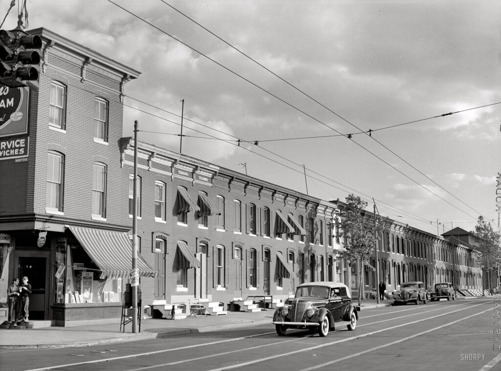 """Row houses, Baltimore, June 1940."" Medium format safety negative by Jack Delano for the Farm Security Administration."