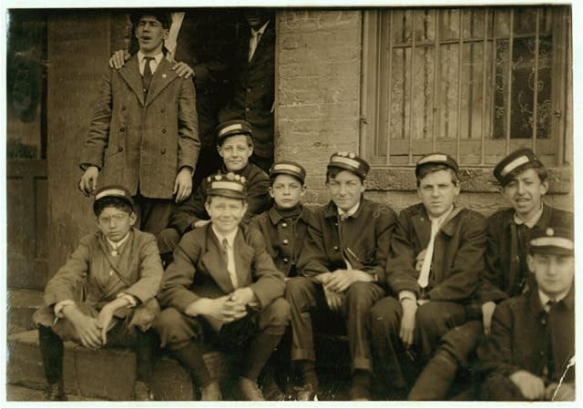 Group of Dime Messengers Service boys, 1228 H St., N.W., at the main office