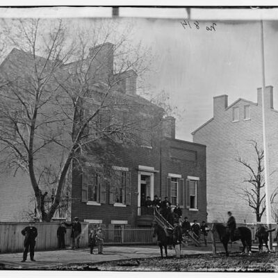 Col. Benjamin F. Fisher and staff on steps of Signal Corps headquarters, 1816 F St., NW