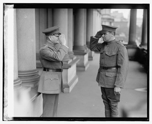 Babe Ruth salutes General John J. Pershing at the War Department
