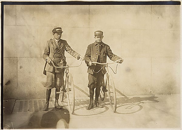 Photograph of Earle Griffith and Eddie Tahoory, working for the Dime Messenger Service in Washington D.C., 04/11/1912