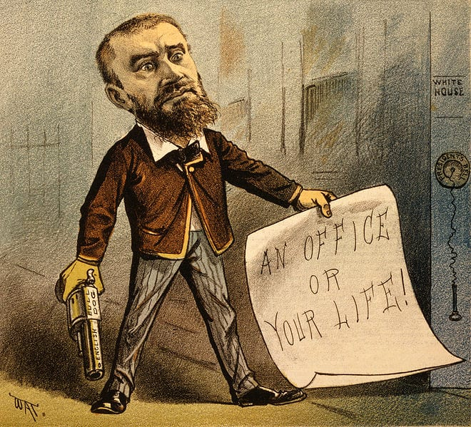 "1881 political cartoon showing Guiteau holding a gun and a note that says ""An office or your life!"" The caption for the cartoon reads ""Model Office Seeker."" (Wikipedia)"