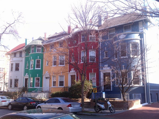 "The ""Rainbow Row"" of homes on Cliffbourne Pl. NW"