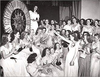 16-year-old Doris Sheldon points to the Wheel of Fortune
