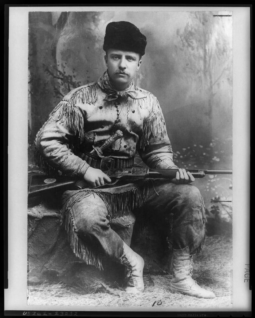 Teddy Roosevelt poses for photo