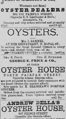 Oyster advertisements in the Alexandria Gazette