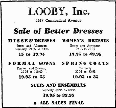 Looby, Inc. advertisement (1938)