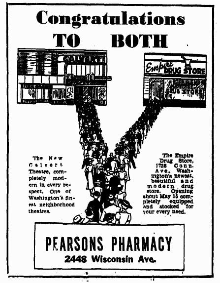 Pearson's Pharmacy advertisement (1934)