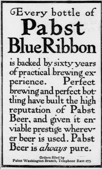 Pabst Blue Ribbon advertisement - 1903