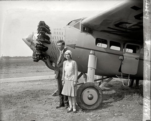 Lindbergh and Wife Land in D.C. Just Prior to Crash