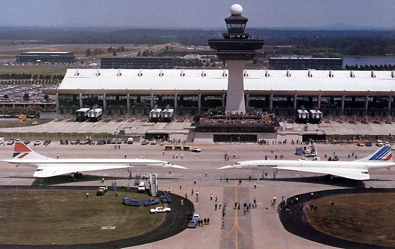 Two Concordes parked nose to nose at Dulles after arrival (1976)
