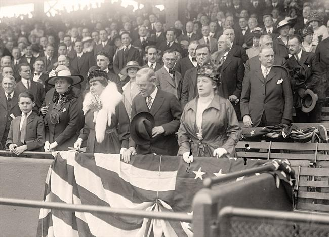 Mrs. Chesley attends a baseball game with President Wilson
