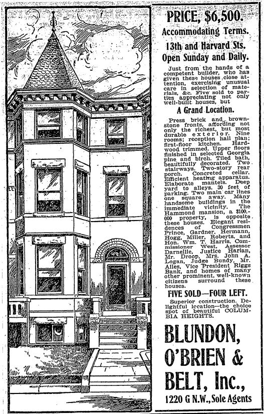 13th and Harvard St. NW advertisement (1905)