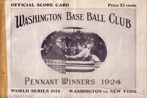 1924 World Series program