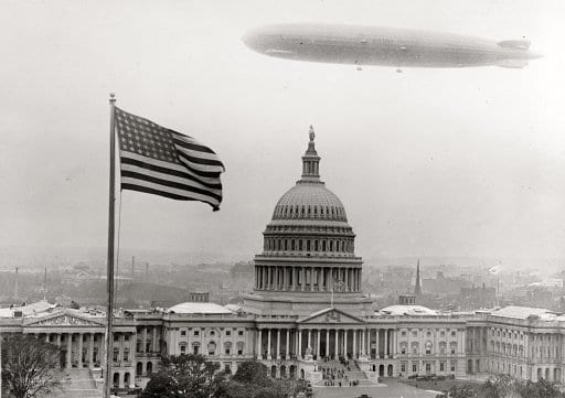"""Graf Zeppelin over Capitol."" The German airship on its visit to Washington in October 1928 (Shorpy)"