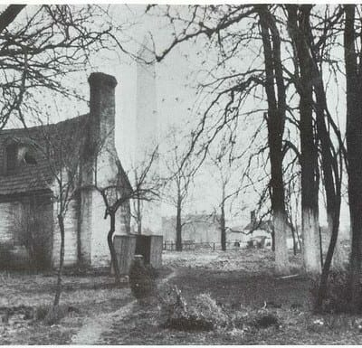 David Burnes' cottage in 1894 prior to razing (PGCist on Flickr)