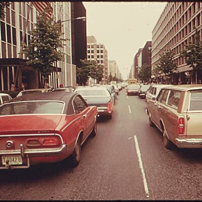 Commuter traffic from bus strike (1974)