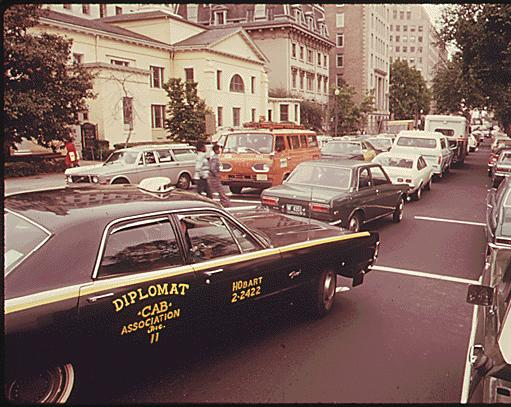 Traffic on H St. NW looking east (1974)