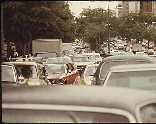 Major traffic due to bus strike (1974)