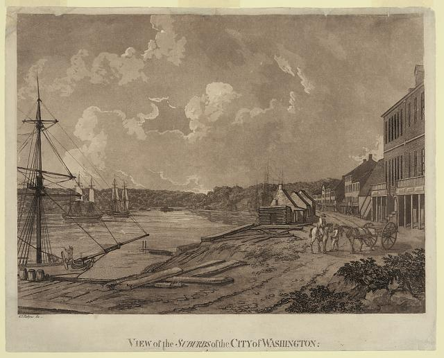 View of the Georgetown waterfront in the 1790s (Library of Congress)