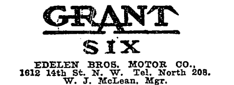 Grant Six and Edelen Brothers Motor Company