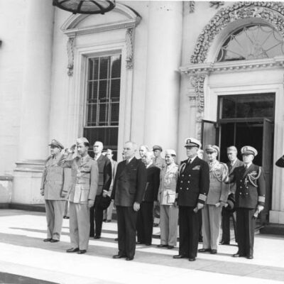 U.S. and Iraqi representatives standing on porch of White House (May 28th, 1945)