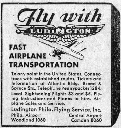 Ludington Airlines advertisement