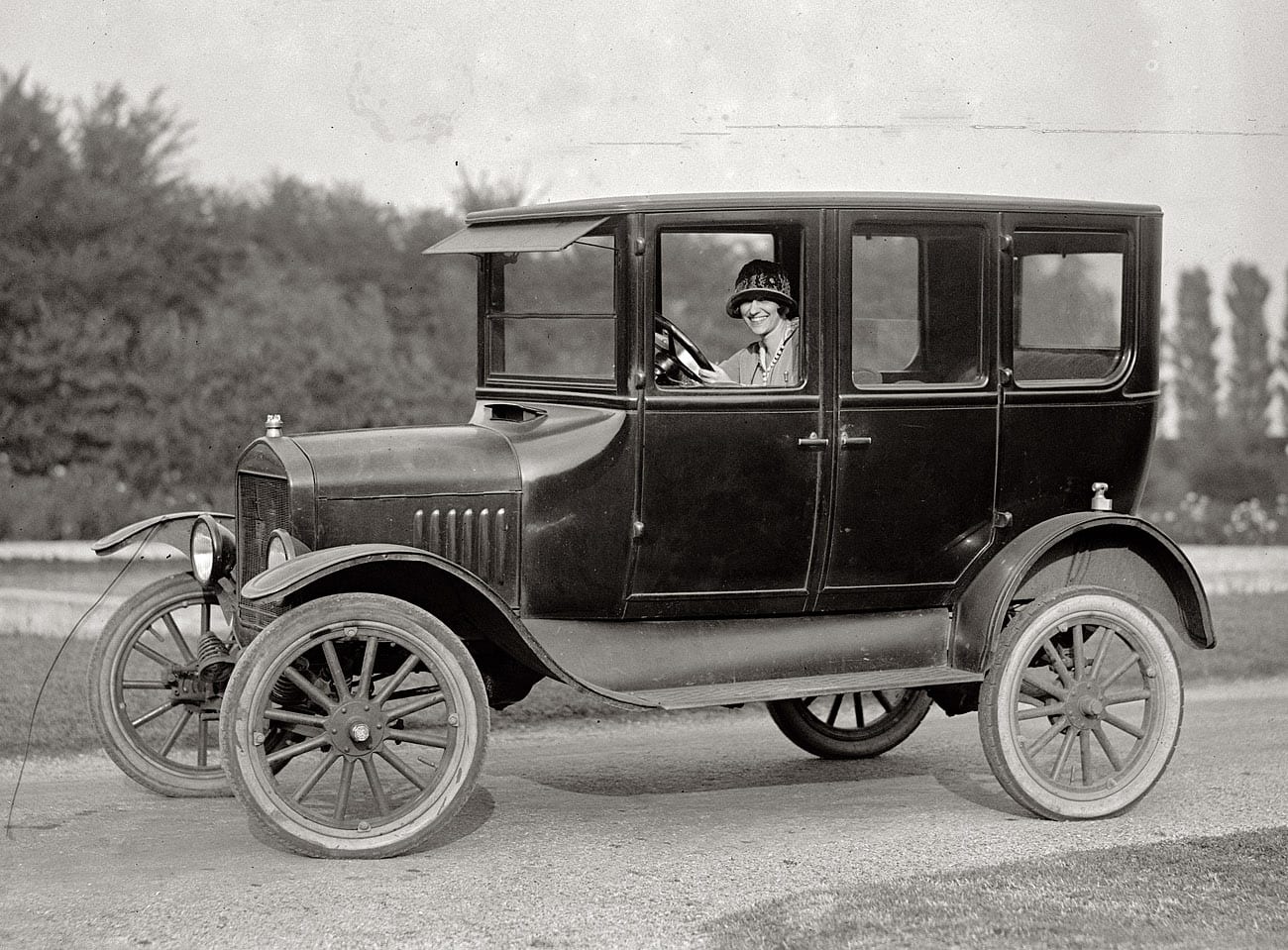 Miss Ramey in her Model T (1924)