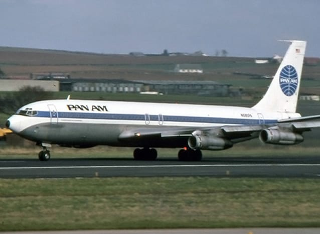 A Pan Am 707 on the runway