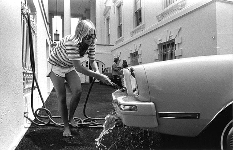 Susan Ford washing her car at the White House (1976)