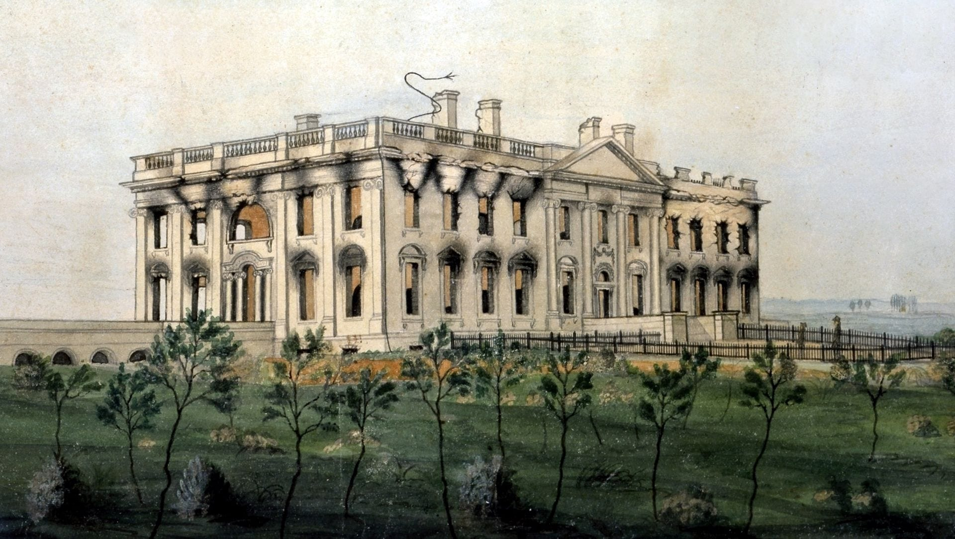 The White House ruins after the conflagration of August 24, 1814. Watercolor by George Munger, displayed at the White House
