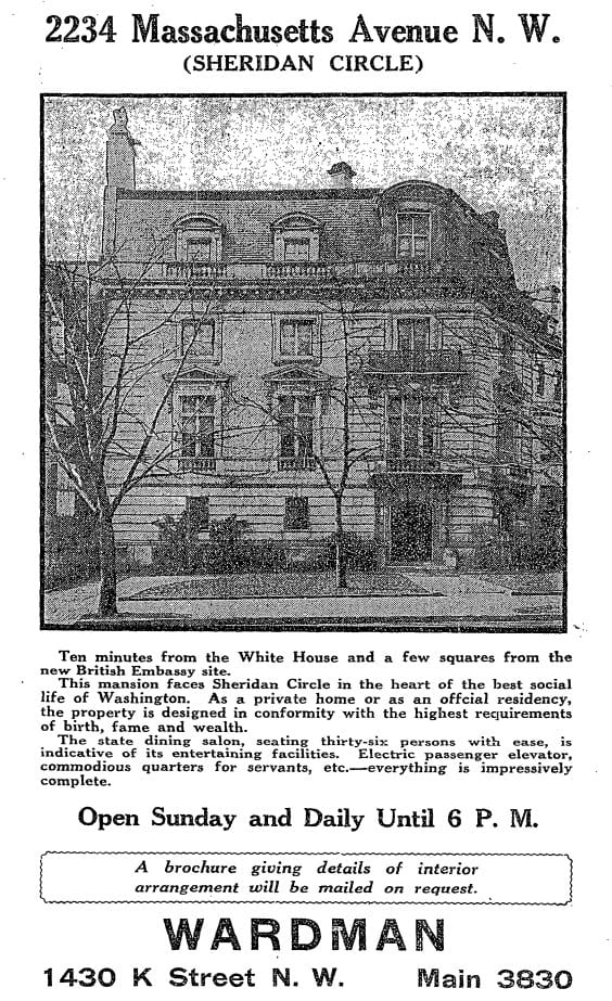 Advertisement for 2234 Massachusetts Ave. NW in 1926 (Washington Post)