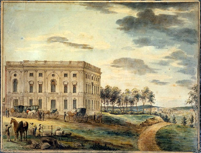 """A view of the Capitol of Washington before it was burnt down by the British."" Watercolor by William Russell Birch circa 1800. (Library of Congress)"