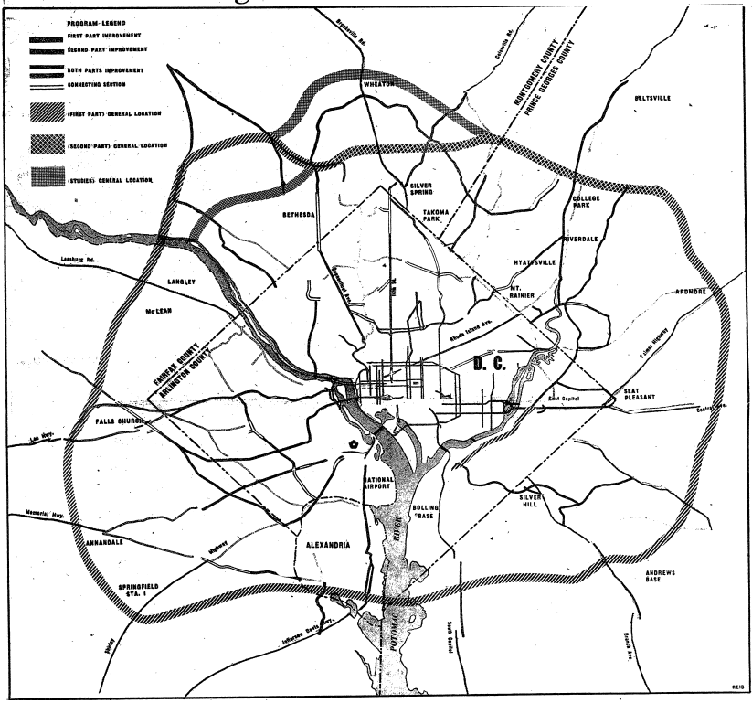 Proposed greater Washington circumferential road in 1952 (Washington Post)