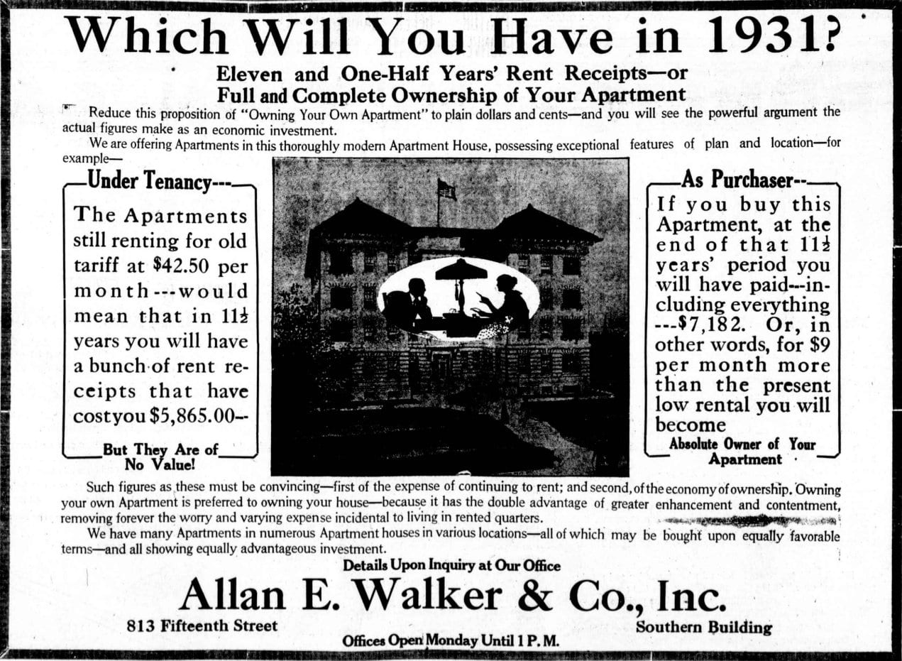 Real estate advertisement from 1920 (Washington Times)