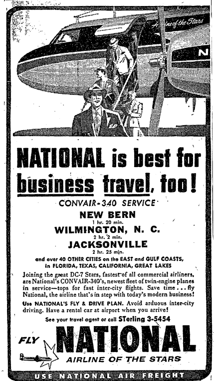 National Airline advertisement in the Washington Post (1955)