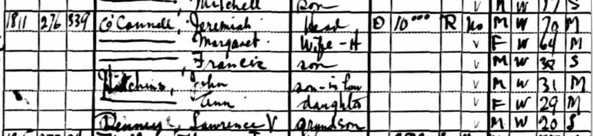 U.S. Census for the O'Connell family at 1811 North Capitol St. NE (1930)