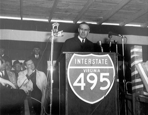 On April 2, 1964, Administrator Rex Whitton participates in the dedication of I-495, the Capital Beltway from U.S. 1 to the Shirley Highway-the last segment in Virginia.
