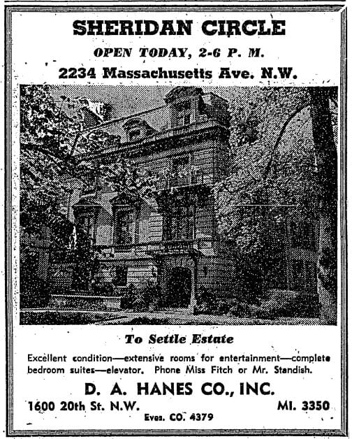 Open house at 22334 Massachusetts Ave. NW in 1948 (Washington Post)