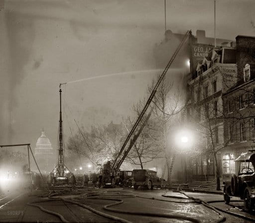 "December 28, 1925. ""G.J. Mueller Fire."" A five-alarm fire at George J. Mueller Candy Co. in Chinatown at 336 Pennsylvania Avenue N.W., in view of the Capitol (Shorpy)"