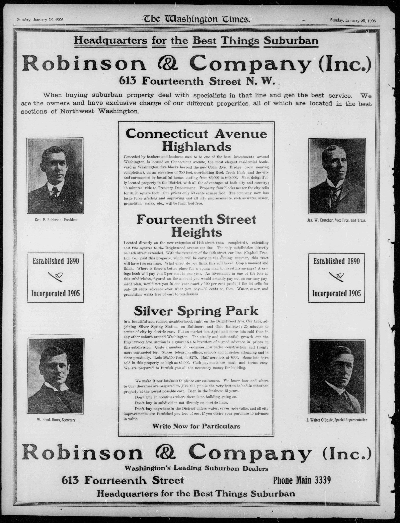Robinson & Company real estate advertisement in the Washington Times - January 28th, 1906