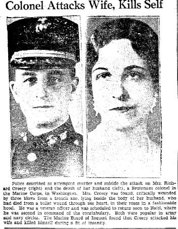 Newspaper photo of Richard and Louise Creecy (unknown source)