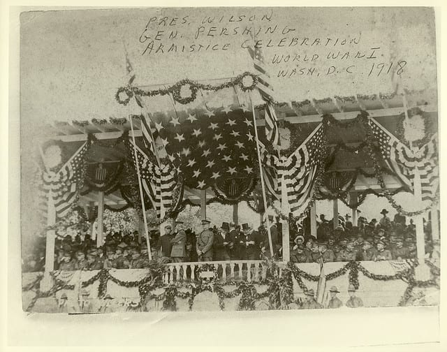 President Wilson and General Pershing celebrating Armistice Day