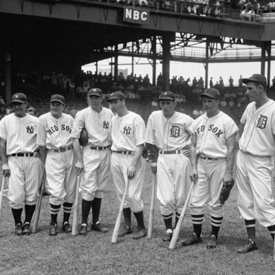 Lou Gehrig, Joe Cronin, Bill Dickey, Joe DiMaggio, Charlie Gehringer, Jimmie Foxx, and Hank Greenberg - July 7th, 1937 (Library of Congress)