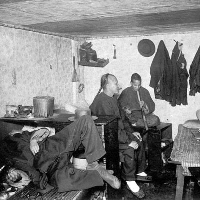 Inside of lodging house and opium den in San Francisco, 1890s (Wikipedia)