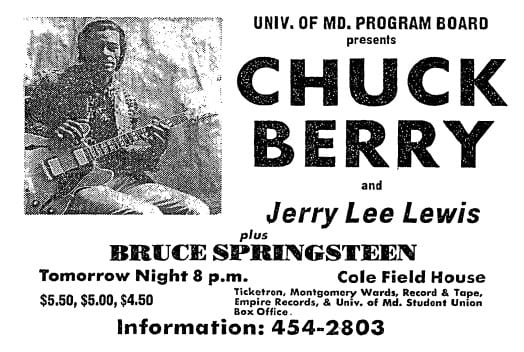 Chuck Berry, Jerry Lee Lewis and Bruce Springsteen concert at the University of Maryland in 1973