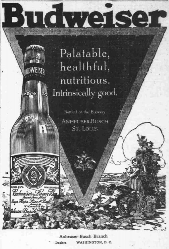 Budweiser advertisement in the Washington Times - June 19th, 1917
