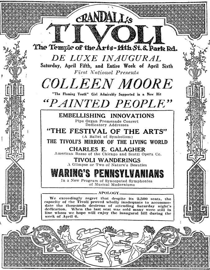 Harry Crandalls' Tivoli Theater advertisement day before opening (Washington Post)