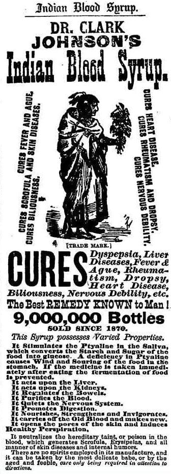 Dr. Clark Johnson's Indian Blood Syrup advertisement in the Washington Post - February 3rd, 1881